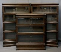 GLOBE WERNICKE SECTIONAL OAK BOOKCASES (3), all bearing interior labels behind lift-up front glass