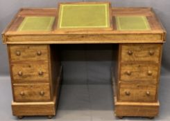CIRCA 1900 MAHOGANY TWIN PEDESTAL DESK, the top with three section gilt tooled leather inserts,