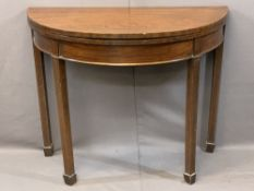 VICTORIAN MAHOGANY FOLDOVER CARD TABLE with boxwood line inlay on square supports and spade type