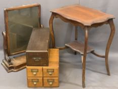 VINTAGE FURNITURE PARCEL, FOUR ITEMS to include a light oak card index bank of four drawers, 24.5cms