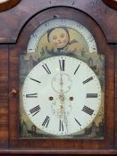 VICTORIAN MAHOGANY MOON FACE DIAL LONGCASE CLOCK, the arched top dial with castle and ruin painted