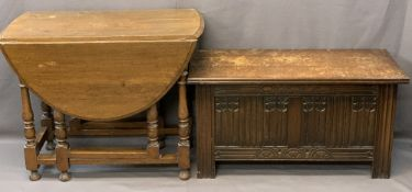OAK GATELEG DINING TABLE and a lidded blanket chest with carved front detail, 73cms H, 91.5cms L,