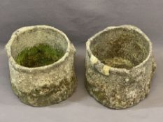 TWO RECONSTITUTED STONEWARE PLANTERS, 25cm heights, 30cm diameters