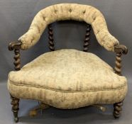 VICTORIAN ROSEWOOD PARLOUR CHAIR with barley twist supports and button upholstered top rail, 66cms