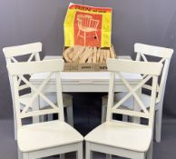 IKEA WHITE PAINTED DRAWLEAF DINING TABLE & FOUR CHAIRS along with a kit form Windsor style armchair,