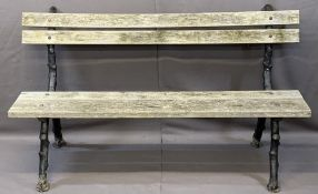 VINTAGE WOODEN SLATTED GARDEN BENCH on cast branch style supports, 84cms H, 152cms L, 58cms