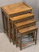 20TH CENTURY CHINESE HARDWOOD TABLE QUARTETTO with carved frieze detail, 61cms H, 48cms W, 36cms D