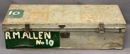 VINTAGE LONG LIDDED TIN TRUNK with carry handles, 27cms H, 108cms L, 41cms D