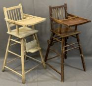 TWO CHILD'S VINTAGE HIGHCHAIRS including a metamorphic example with wheels, 101cms H, 37cms W, 47cms