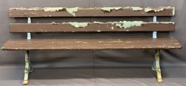 VINTAGE WOODEN GARDEN BENCH on decorative cast iron supports, 73cms H, 183cms L, 42cms overall D