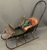 CIRCA 1900 CHILD'S DOG PULL SLEIGH/SLEDGE and a pair of ice skates, the sledge with painted detail