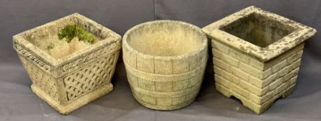 THREE RECONSTITUTED STONE GARDEN PLANTERS including a barrel effect example, 32cms H, 43cms