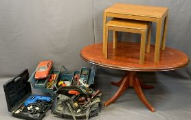 OCCASIONAL TABLES (3), power and other tools and a plastic model motor car made in France, 49.5cms