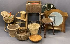 WICKER BASKETS, vintage wall mirrors and a circular top three legged stool, the tallest basket