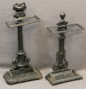TWO QUALITY REPRODUCTION CAST IRON STICK STANDS including an urn top example on a column stem with