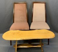 RUSTIC TYPE KNOTTY PINE COFFEE TABLE and two modern mahogany upholstered side chairs, 44cms H,