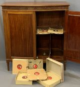 EARLY 20TH CENTURY MAHOGANY BOW FRONTED GRAMOPHONE RECORD CABINET and approximately 400 plus vintage