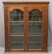 VICTORIAN MAHOGANY BOOKCASE TOP having twin glazed doors and interior adjustable shelves, 129cms