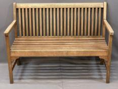 TEAK SLATTED GARDEN BENCH, 85.5cms H, 121.5cms W, 45.5cms seat D
