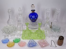 VICTORIAN & LATER PRESSED, MOULDED & COLOURFUL GLASSWARE to include a Bristol Blue colour and gilt