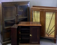 VINTAGE & LATER FURNITURE, THREE ITEMS to include a Priory style oak bookcase having two upper