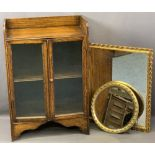 VINTAGE OAK BOOKCASE & TWO GILT FRAMED WALL MIRRORS, the shelf top bookcase with twin lower glazed