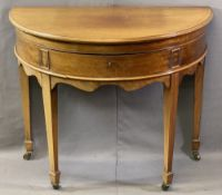 FINNIGANS LIMITED MANCHESTER DEMI LUNE MAHOGANY SILVER TABLE with baize lined interior over a shaped