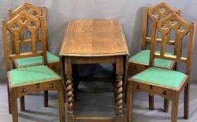 S J WARING & SONS LTD GOTHIC OAK STYLE DINING CHAIRS (4) and a vintage oak barley twist gateleg