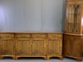 REPRODUCTION BURR WALNUT BREAKFRONT SIDEBOARD and a glass top corner display cabinet, unbranded