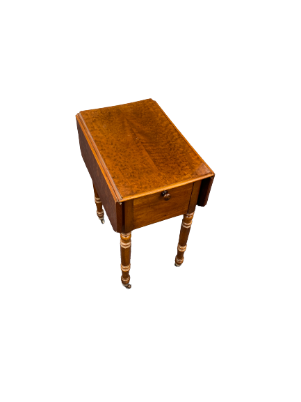 VICTORIAN BURR WALNUT & MAHOGANY TWIN-FLAP WORKTABLE the ends with two drawers and opposing drop-