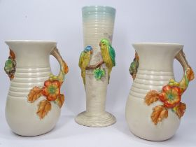 CLARICE CLIFF FOR NEWPORT POTTERY relief decorated vases (3) to include a 32cms H example with