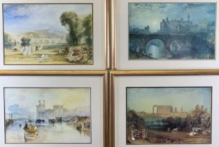 JOSEPH MALLORD WILLIAM TURNER prints (4) to include - Caernarfon Castle, 27 x 42cms, Malmesbury