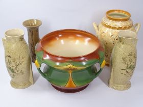 ART NOUVEAU PLANTER, Burleigh ware and other Art Deco vases