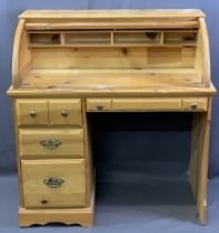 MODERN PINE TAMBOUR FRONT KNEE-HOLE DESK the top interior with an arrangement of pigeonholes over