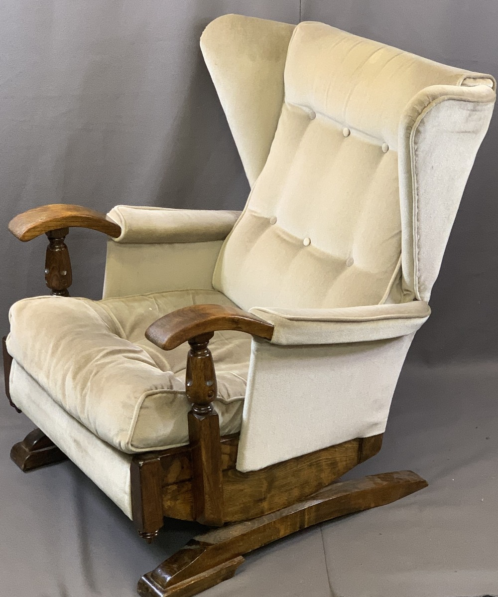 VINTAGE STYLE OAK FRAMED ROCKING WING-BACK ARMCHAIR with button upholstery, 87.5cms H, 64cms W, - Image 2 of 4