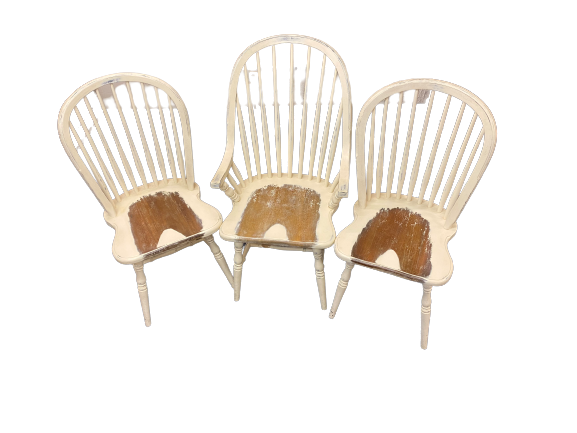 THREE VINTAGE STYLE STICK BACK PAINTED FARMHOUSE CHAIRS (3) to include armchair, 105cms H, 59cms