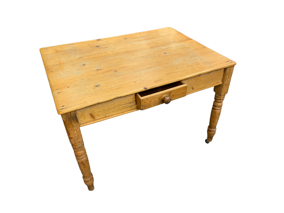ANTIQUE STRIPPED PINE SINGLE DRAWER KITCHEN TABLE on turned and block supports with modern
