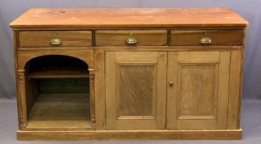 VINTAGE STRIPPED PINE DRESSER BASE with 2cms thick top over three frieze drawers with brass cup