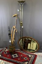 MIXED HOUSEHOLD FURNISHINGS BUNDLE to include a modern satin brass uplighter standard lamp with