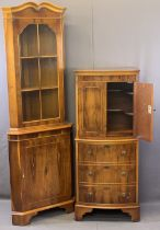 REPRODUCTION YEW WOOD PARLOUR FURNITURE, TWO ITEMS to include a bow fronted cocktail cabinet with