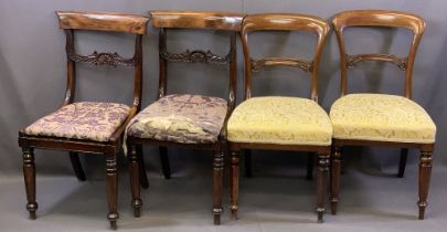 ANTIQUE ROSEWOOD/MAHOGANY SALON/SIDE CHAIRS, TWO PAIRS, both with curved top rails, carved cross