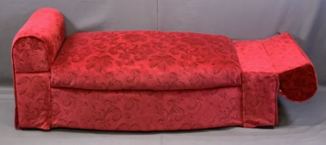 MODERN RED VELOUR UPHOLSTERED DAYBED/STORAGE BOX with drop-end arms, 57cms H, 147cms W, 66cms max D