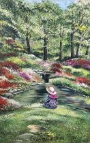 JILL FRY oil on board - Bonneted girl seated at river's edge, titled 'Exbury Gardens', signed and