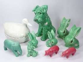 SYLVAC & OTHER ANIMAL FIGURINES to include a large, seated dog in green No 1380, original sticker