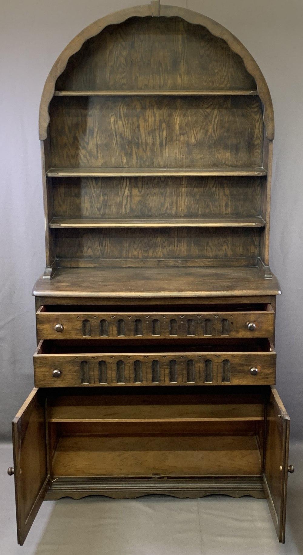VINTAGE OAK DUTCH TOP DRESSER and an oak barley twist gateleg dining table, 191cms overall H, 96. - Image 2 of 5