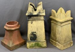 VINTAGE CHIMNEY POTS (3) including two castellated top examples, 78 and 66cm heights and a small