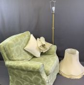 UNLABELLED LAURA ASHLEY ARMCHAIR and a modern satin brass standard lamp and shade, 83cms H, 89cms W,