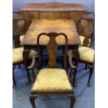 VINTAGE BURR WALNUT DINING SUITE consisting of sideboard, 92.5cms H, 140cms max W, 53.5cms D,