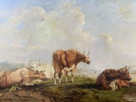 UNSIGNED oil on canvas - grazing cattle with boats to the background, 40 x 60cms