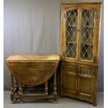 VINTAGE & LATER OAK FURNITURE, TWO ITEMS to include a drop-leaf gateleg dining table on turned and